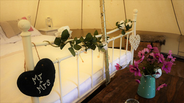 Wedding day glamping tents for hire Cotswolds - Bridal Bell Suite