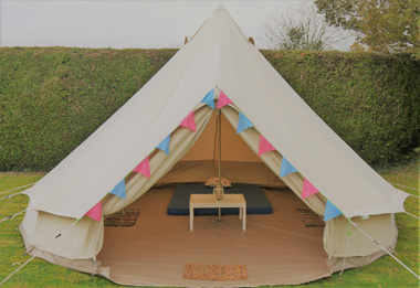 Luxury bell tents for hire Cotswolds - The Silver Bell Tent