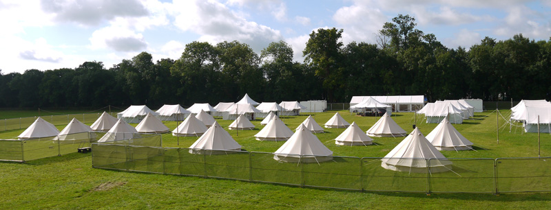 Temport tented villages at festivals, festival tent accommodation